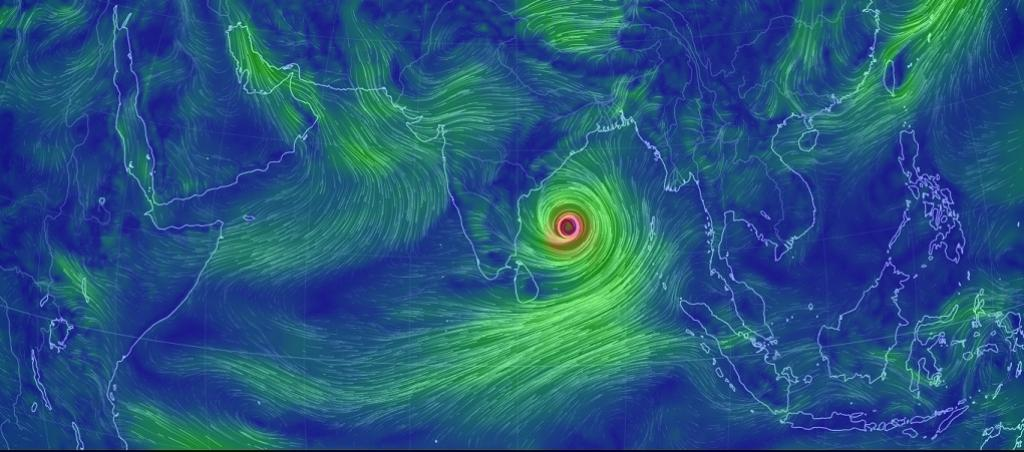 A photo by the website 'Earth Nullschool', showing Cyclone Fani in the Bay of Bengal