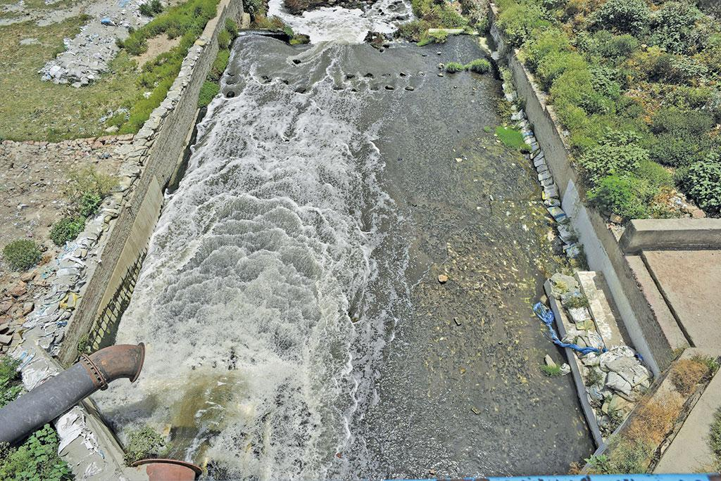50 MLD* waste flows  in the river  from sewage treatment plants  that have limited treatment capacity *Million Litres per Day