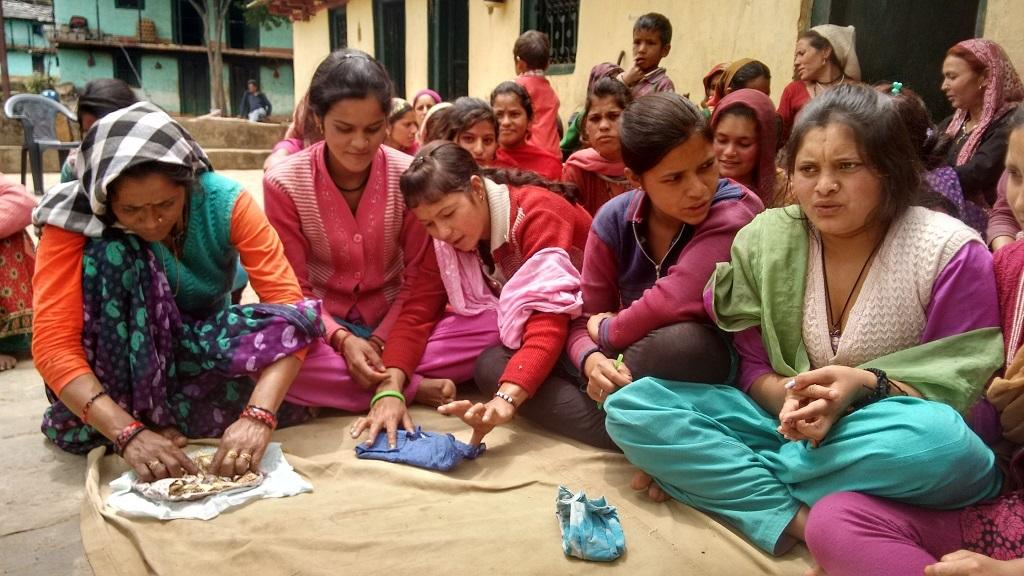 Goonj, a non-profit, provides women with enough cloth, some menstrual hygiene awareness and space to freely speak about their menstrual challenges. They also teach women to make the cloth pads. Photo: Goonj