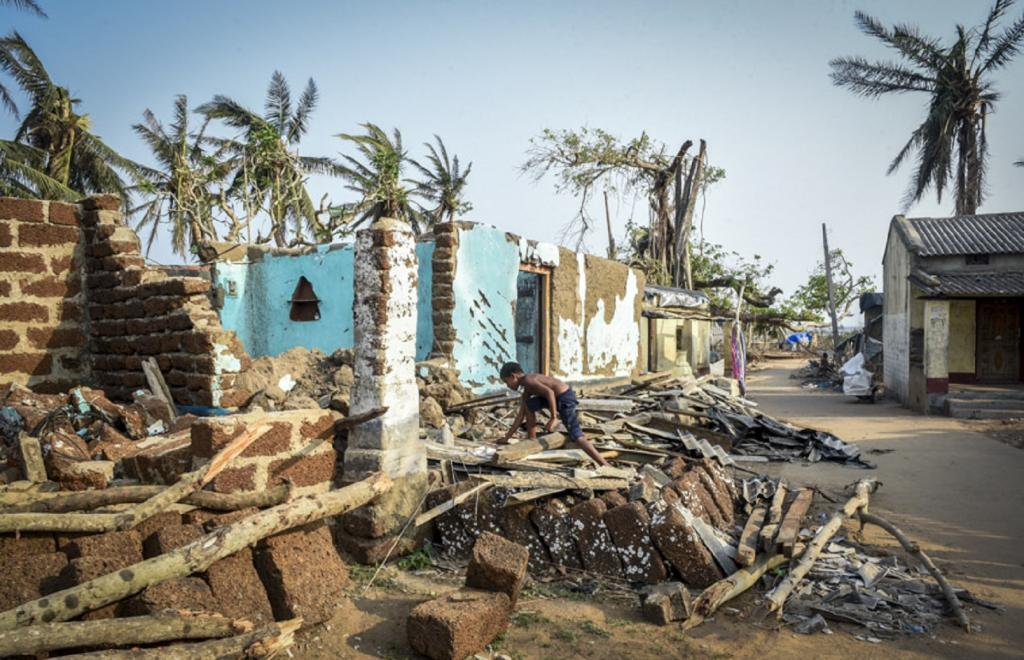 Around 50 houses in the village were completely destroyed due to the Cyclone, while the rest have sustained some kind of damage. Photo: Adithyan P C