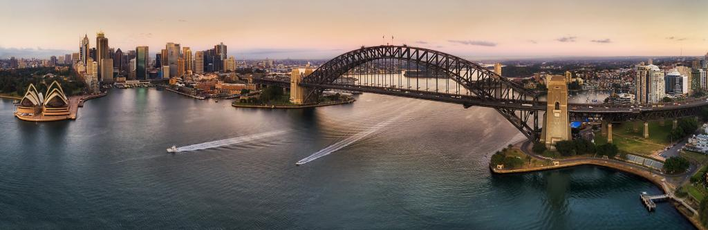 A panoramic view of the Sydney Harbour Bridge and Opera House. Photo: Getty Images