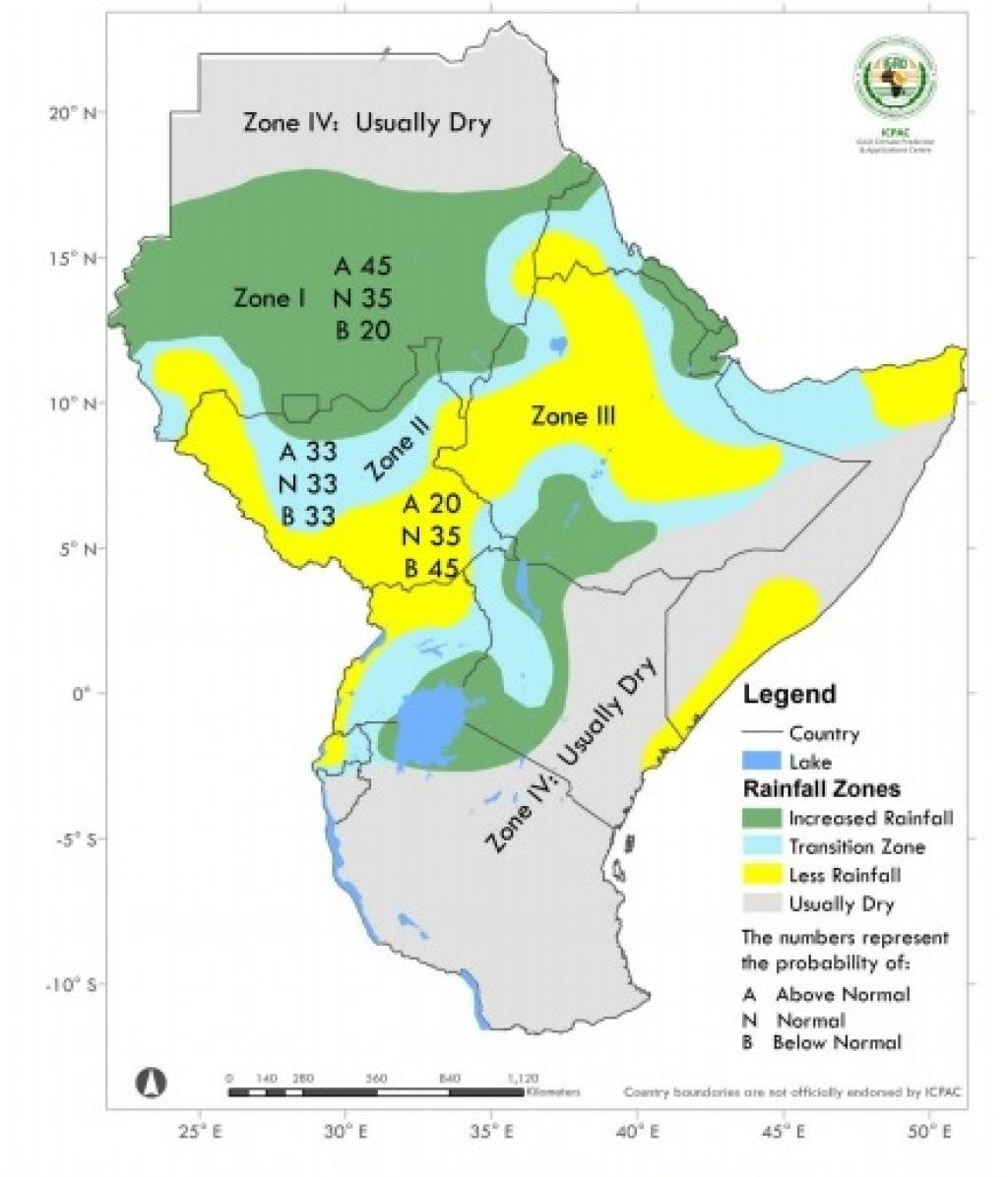 Greater Horn of Africa consensus rainfall climate outlook for June to September 2019 rainfall season. Photo: ICPAC_IGAD_UNOSAT