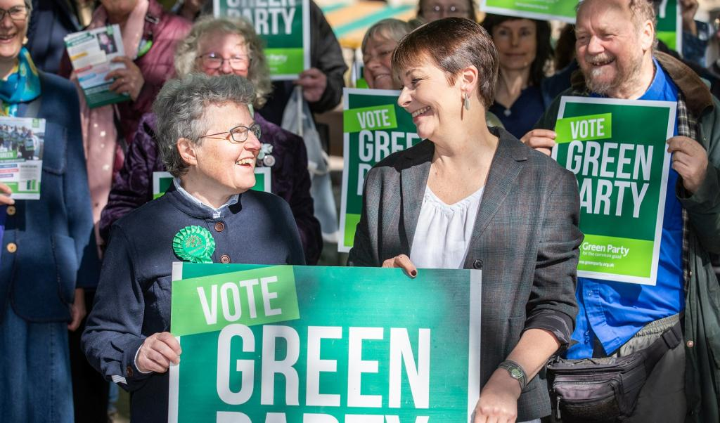 Catherine Rowett (left) with other Green Party, UK, members during a rally. Photo: Joseph Casey Photography