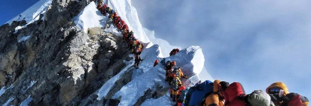Mountaineers at the top of Mt. Everest