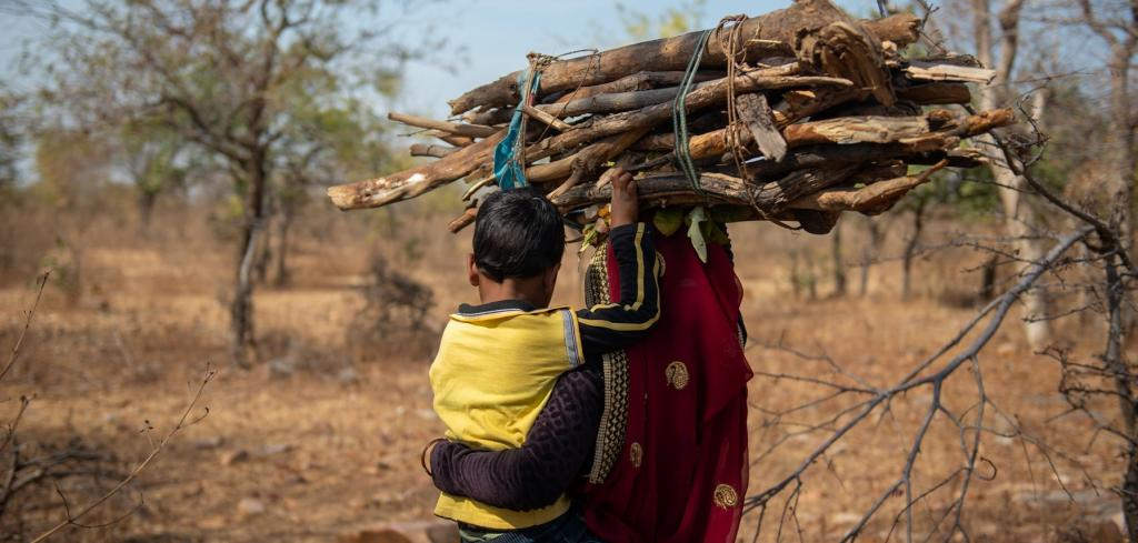 A woman and her child fetching firewood in a Lalitpur village. Photo: World Vision India