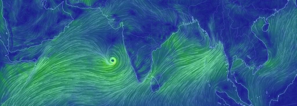 Cyclone Vayu near the coast. Image: Earth Nullschool