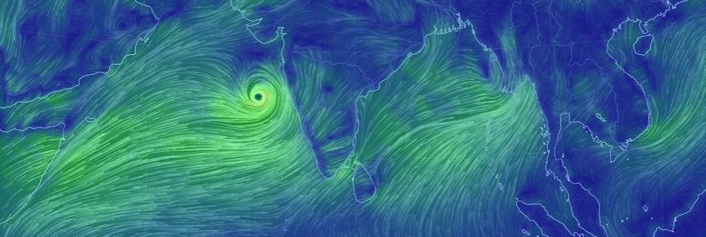Cyclone Vayu moves towards Gujarat coast. Image: Earth Nullschool
