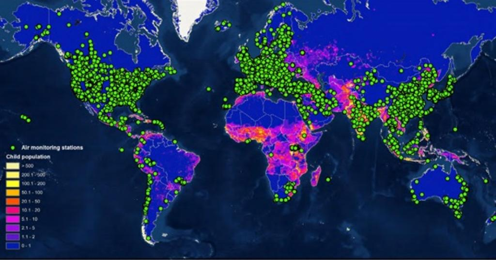 A map from the UNICEF Report. The green dots represent ground level air pollution monitoring stations.