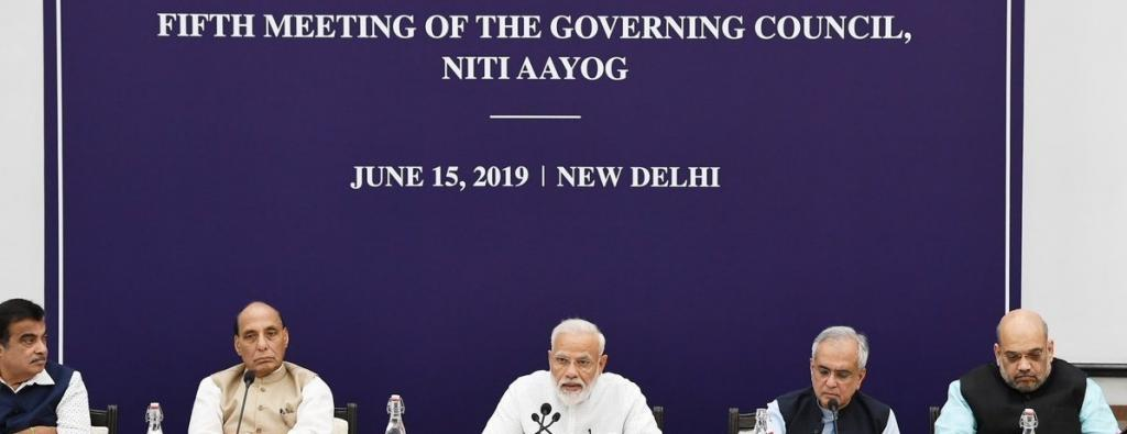 Prime Minister Naredra Modi addresses the Niti Aayog Governing Council meeting on June 15, 2019. Photo: Twitter/Niti Aayog