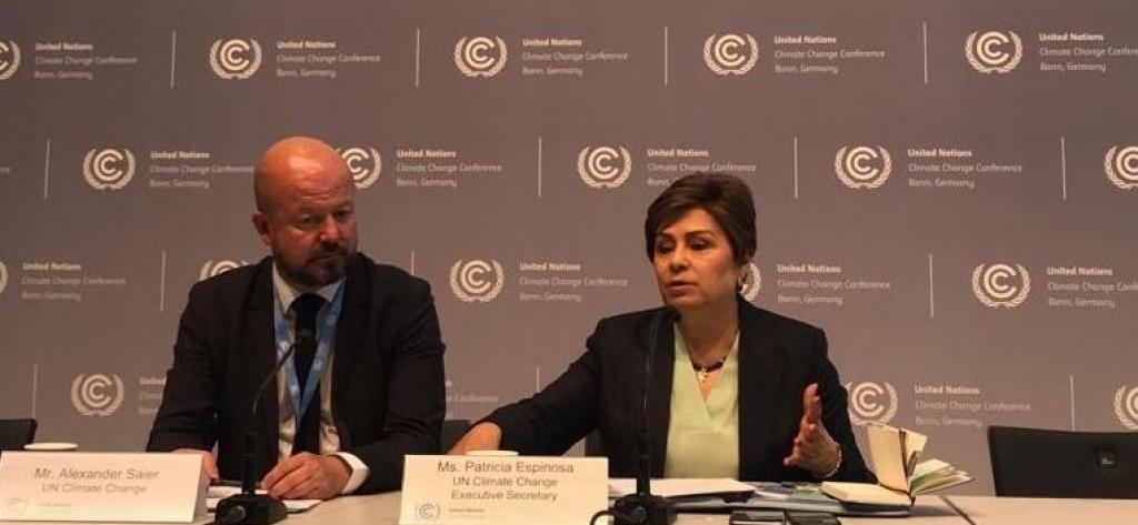 Patricia Espinosa speaks at the United Nations Framework Convention on Climate Change in Bonn, Germany. Photo: Twitter/UN Climate Change