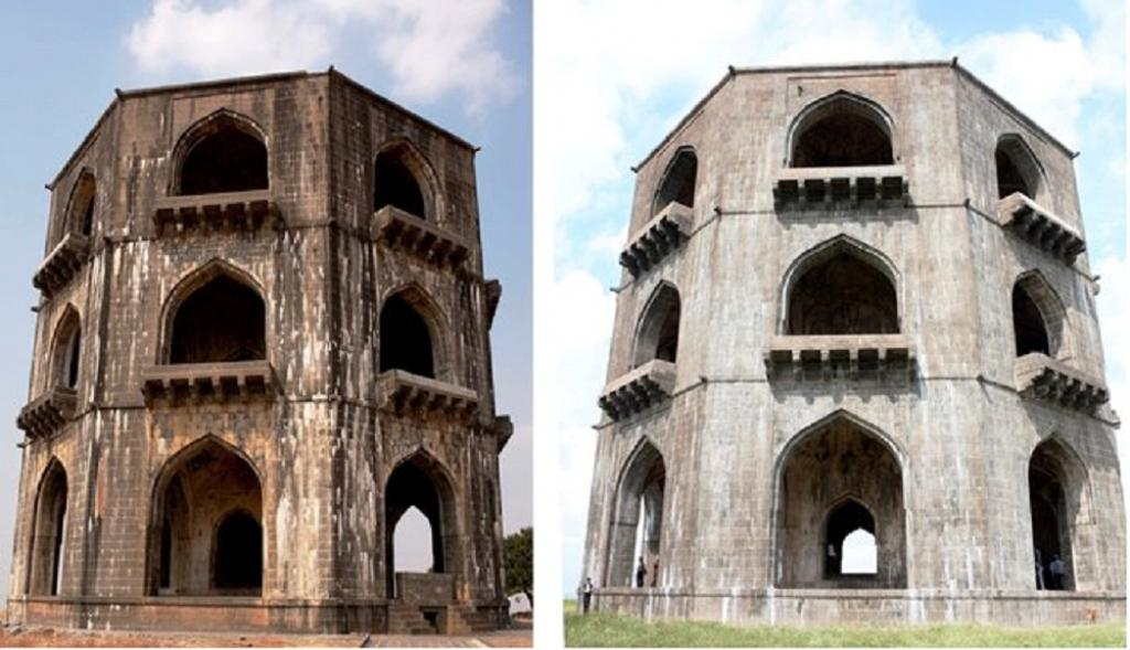 Salabat Khan's tomb with white patches (left) and after cleaning. Photo: ISW