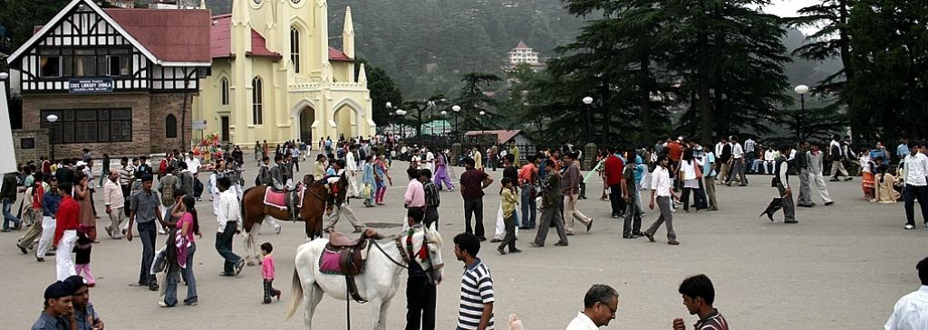 The Ridge in Shimla, filled with tourists and regular townsfolk. Photo: Wikimedia Commons