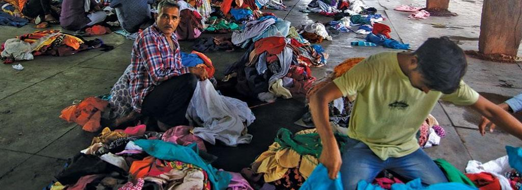 Vendors selling used garments in Delhi's Raghubir Nagar. Photo: Vikas Choudhary