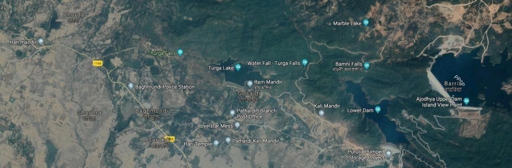 Turga lake is 10 kilometres away from the Purulia Pumped Storage Project. Image: Google Maps