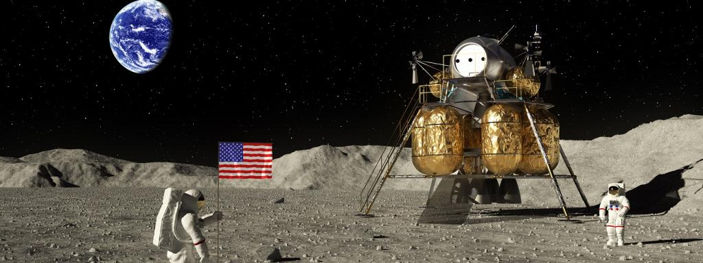 An illustration based on the first human landing on the Moon by US astronauts, Neil Armstrong and Buzz Aldrin. Photo: Getty Images