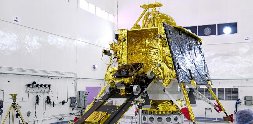 The Pragyan Rover mounted on a ramp. Photo: Wikimedia Commons