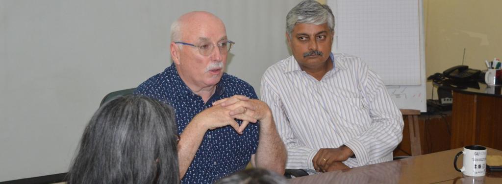 IFAW CEO Azzedine  Downes addresses a meeting with WTI's Vivek Menon. Photo: Ayushman Singh/WTI