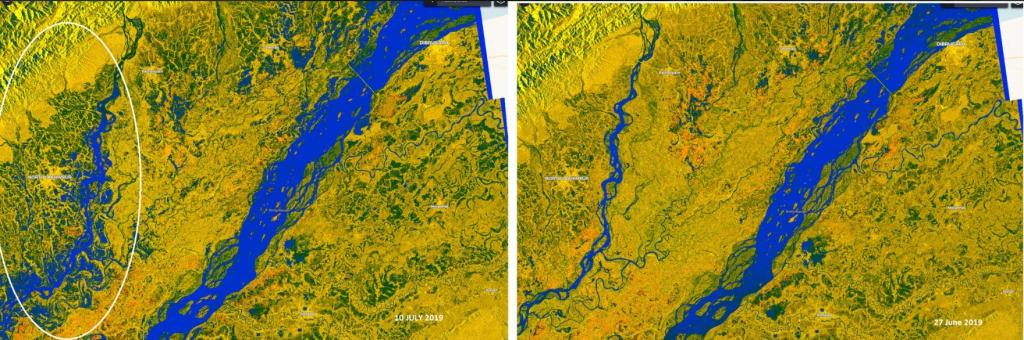 Sentinel-1 SAR of Copernicus shows extent of flooding North Lakhimpur district. Photo: Twitter / @ashimmitra