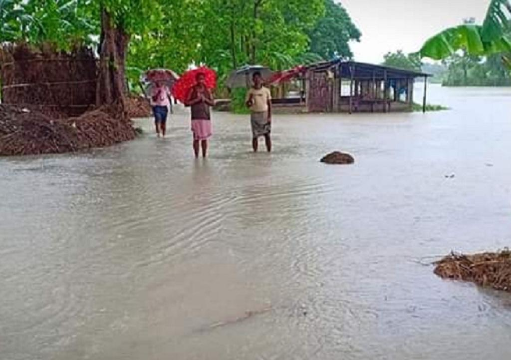 बिहार के पूर्वी चंपारण में बाढ़ का दृश्य। फोटो: पुष्य मित्र