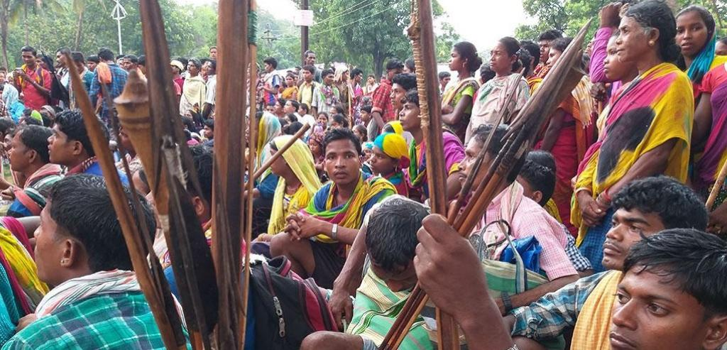 Nearly 10,000 people from 200 tribal villages across Chhattisgarh protest in Dantewada against mining a hill, which they consider sacred. Photo: Purushottam Thakur