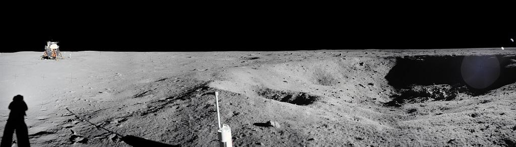 A panoramic view of Apollo 11 Lunar surface photos taken by astronaut Neil Armstrong at Tranquility Base of a crater Armstrong noted during the Lunar Module descent. Photo: NASA