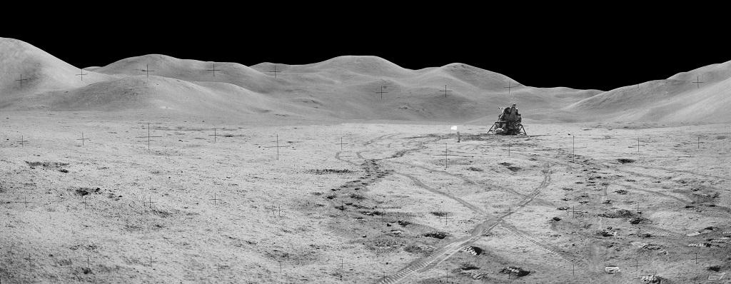 A photo of Station 8 and (Mons) Mt Hadley taken during the third moonwalk of the Apollo 15 mission. Photo: NASA