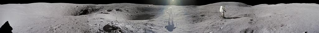 "In this ""stitched"" picture of Apollo 16 lunar surface, lunar module pilot Charles M Duke Jr is photographed by commander John W Young collecting lunar samples at Station No. 1 during the first moonwalk of the mission at the Descartes landing site. Photo: NASA"