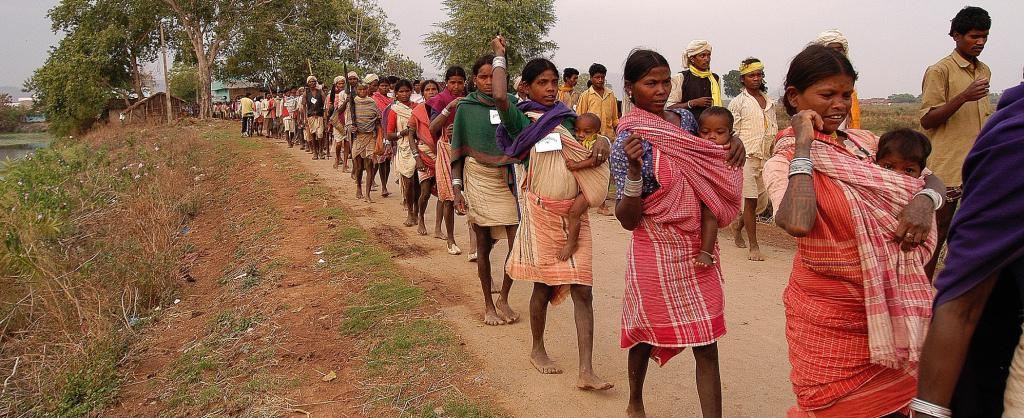 Baiga adivasis on a protest walk. Photo: Wikimedia Commons