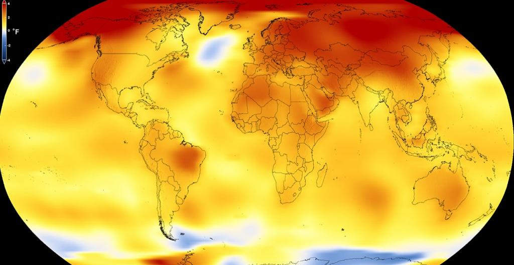 Average global temperature from 2013 to 2017, as compared to 1951–1980 baseline. NASA's Scientific Visualization Studio