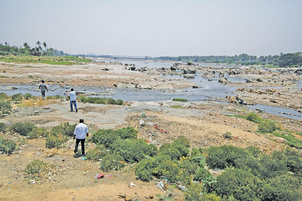 There is hardly any water at Salem district as the Stanley reservoir upstream restricts the Cauvery's momentum (Photograph: Vikas Choudhary)