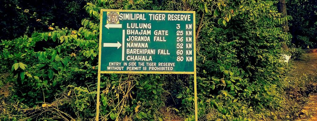 A signboard in Simlipal Tiger Reserve, Odisha, one of the states with a declining tiger population. Photo: Getty Images