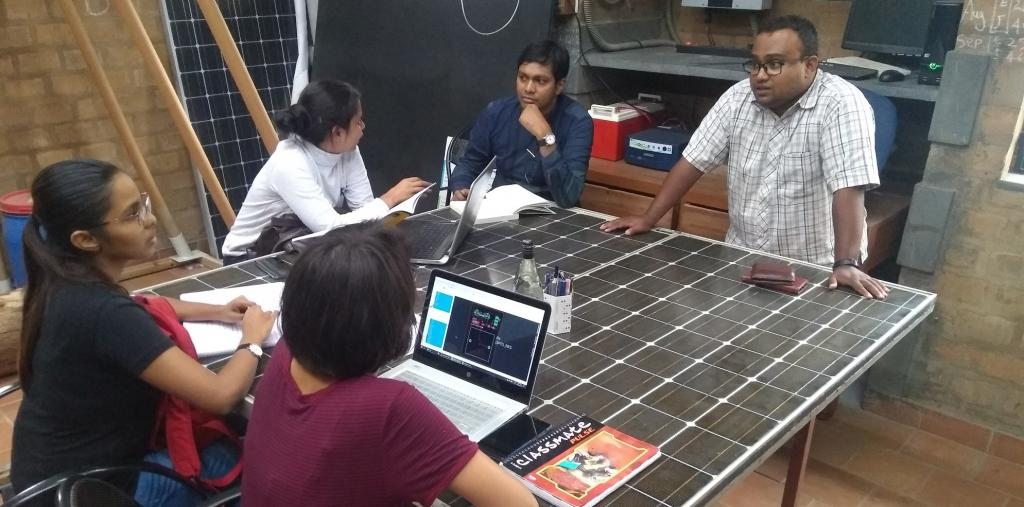 Table made with EoL-PV top at IISc. Photo: Manish