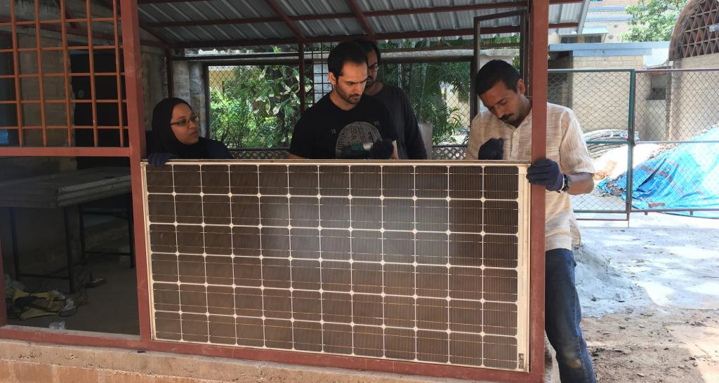 The extension of a laboratory constructed using End of Life PV panels by the Indian Institute of Science team. Photo: Henna