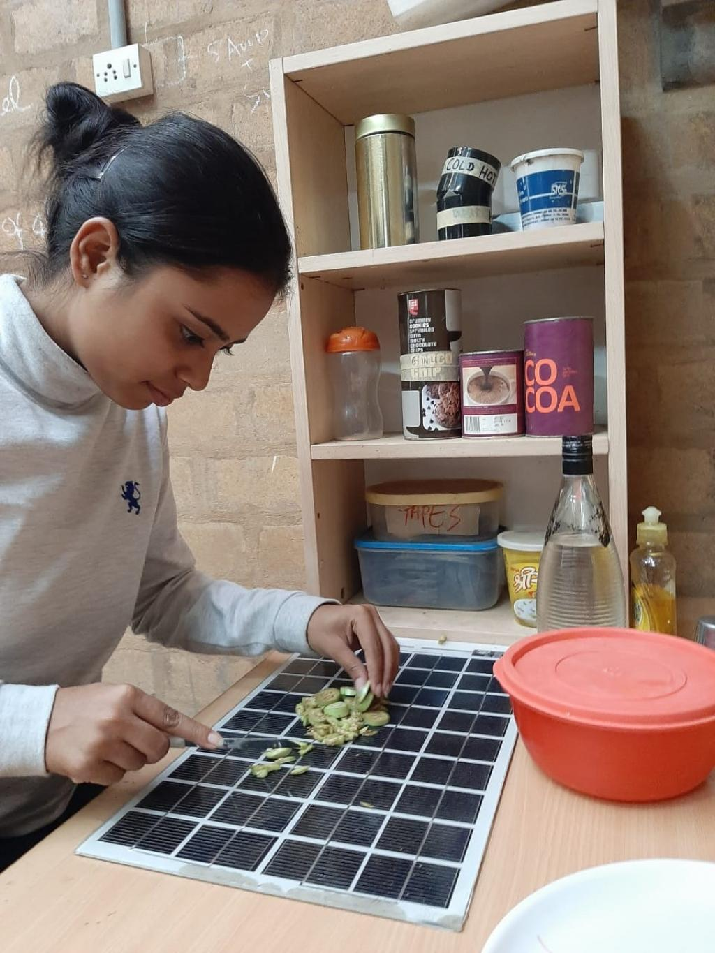 An EoL PV being used as a chopping board. Photo: Henna