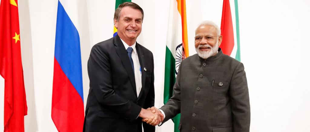 President Jair Bolsonaro with Prime Minister Narendra Modi. In 2017, Brazil was the third-biggest seller of beans to India. Photo: Wikimedia Commons