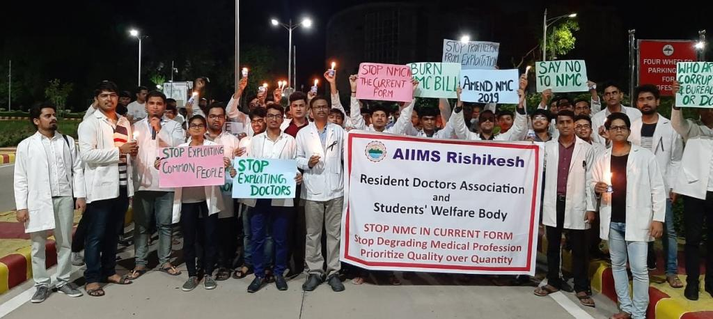 File photo of doctors protesting in Rishikesh on July 31, 2019