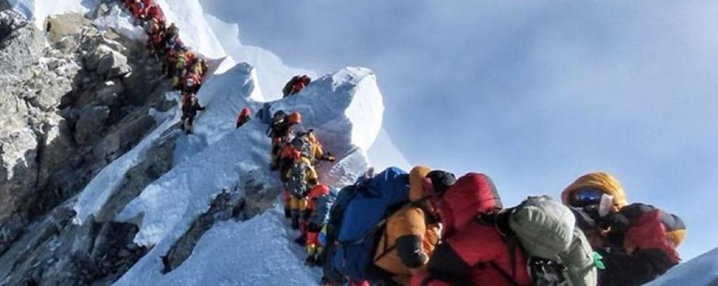 File photo of climbers queueing to reach the Everest summit. Photo: Facebook/Nirmal Purja