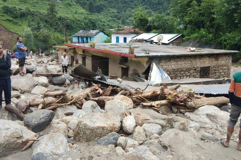 चमोली जिले के फल्दिया गांव में हुआ भारी नुकसान - फोटो- आपदा प्रबंधन विभाग
