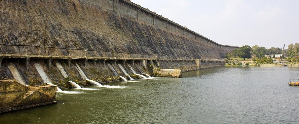 A view of the Krishnarajsagar dam at the Cauvery river in Karnataka. Photo: Getty Images