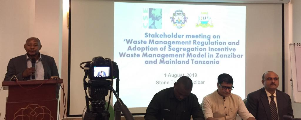 A stakeholders'meeting on the new Solid Waste Management Regulation in Zanzibar in August, 2019. Photo: Sonia Henam/Swati Singh Sambyal/CSE