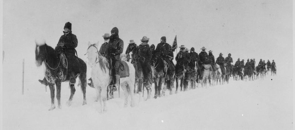 Return of Casey's scouts from the fight at Wounded Knee, 1890--91. The Wounded Knee Massacre was among the worst genocidal attacks against Native Americans in the United States. Photo: Wikimedia Commons