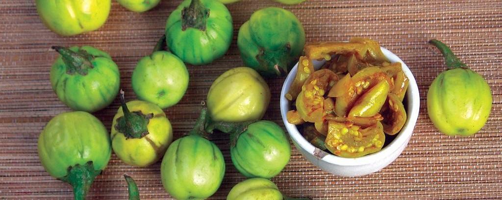 Just like brinjal, khamen akhaba is botanically a fruit. Photo: Chitra Balasubramaniam
