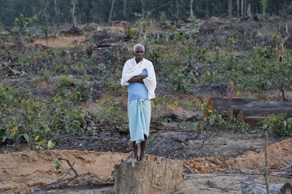 This man belongs to a tribal community and stands at a piece of land that belonged to the villagers in Chhattisgarh's Surguja district some months ago. But it has now been given to a coal mining company that has cut all trees there and disturbed the area's ecology. Photo: Vikas Choudhary