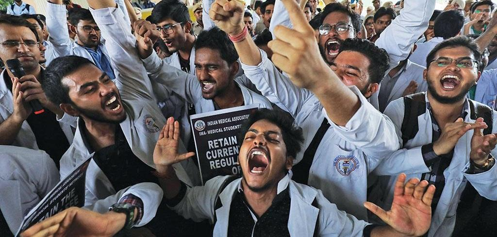 Medical students protest against the National Medical Commission Act in New Delhi Photo: Reuters