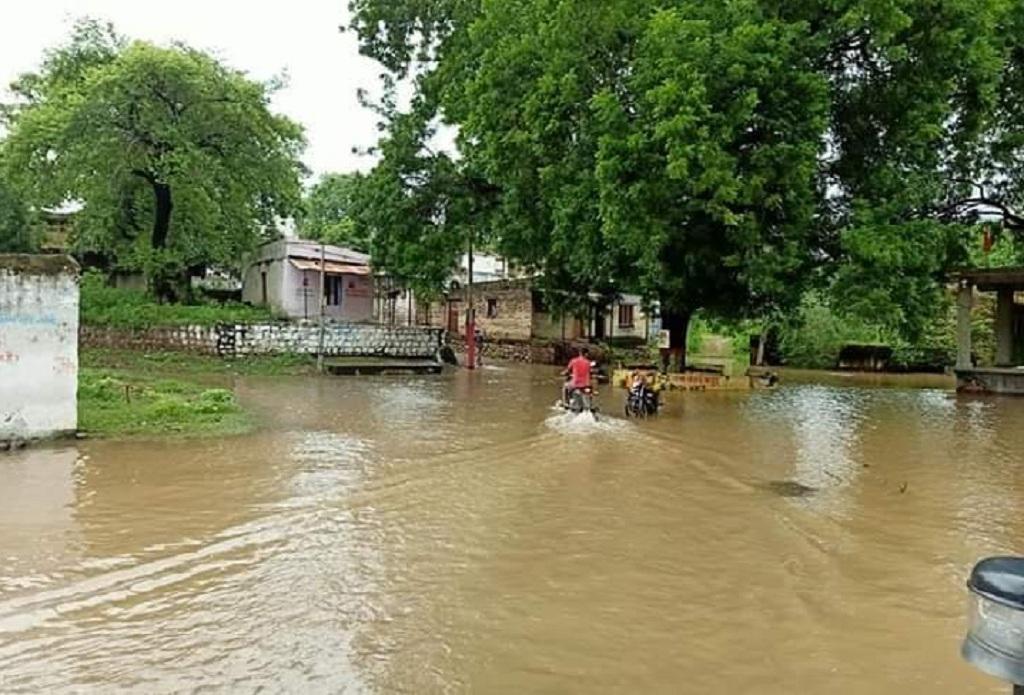 मध्यप्रदेश के बड़वानी जिले का बागुड गांव, जहां पानी पूरी तरह से भर गया है। फोटो: एनबीए