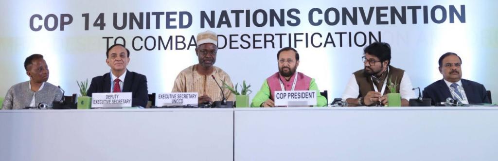 UNCCD Executive President, Ibrahim Thiaw and Union Environment Minister Prakash Javadekar at the start of the UNCCD CoP. Photo: @UNDP_India/Twitter