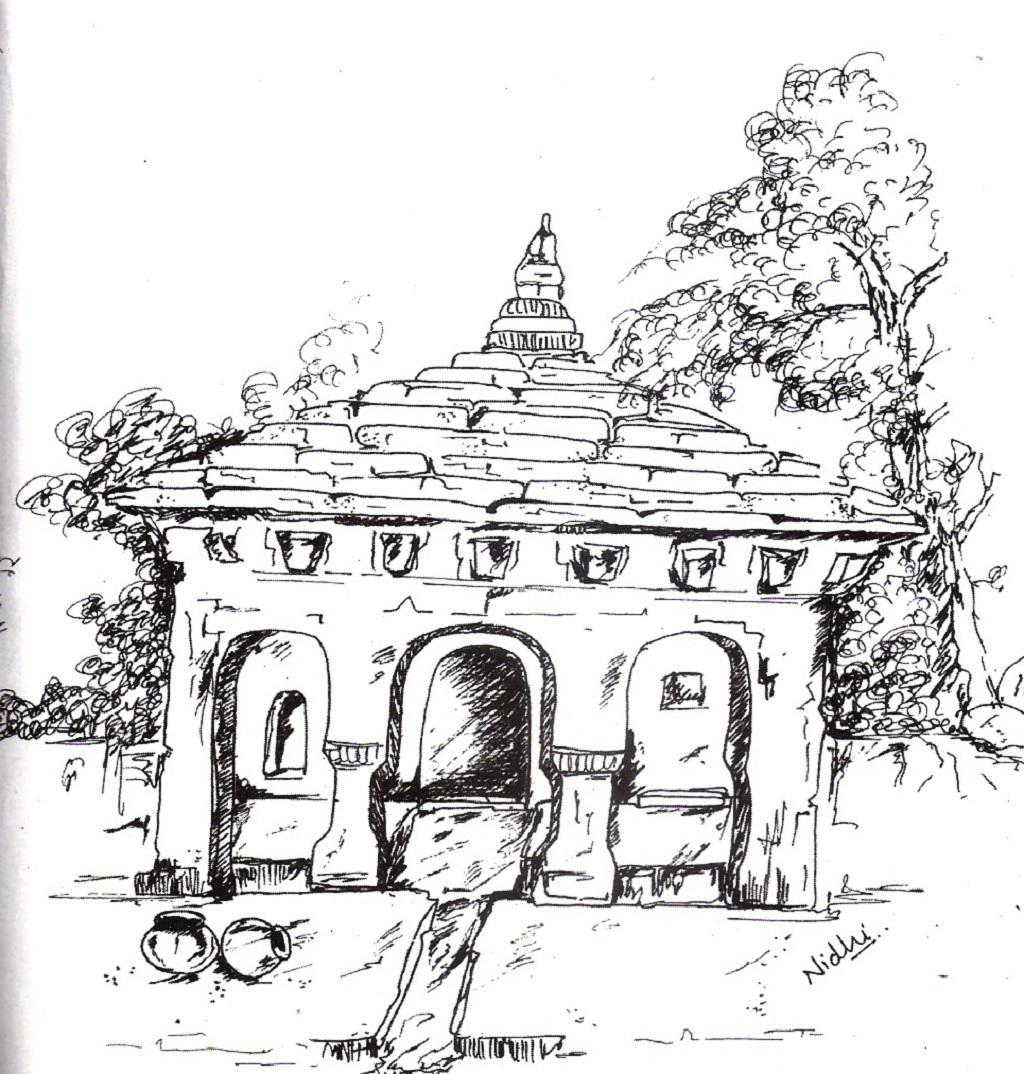 अल्मोड़ा नगर में स्थित कपीना नौले का यह रेखांकन निधि तिवारी द्वारा बनाया गया है।