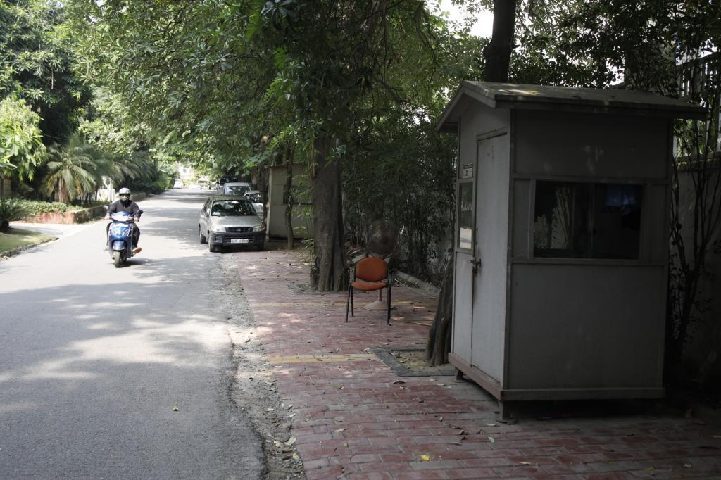 "The Supreme Court ruling on parking policy on September 2, 2019 declared that ""footpaths are for pedestrians"". The court criticised the encroaching of footpaths for gardening and installing cabins for security guards. This is one such lane in Greater Kailash-II where the footpath is just for the cabin crew. Photo: Vikas Choudhary"