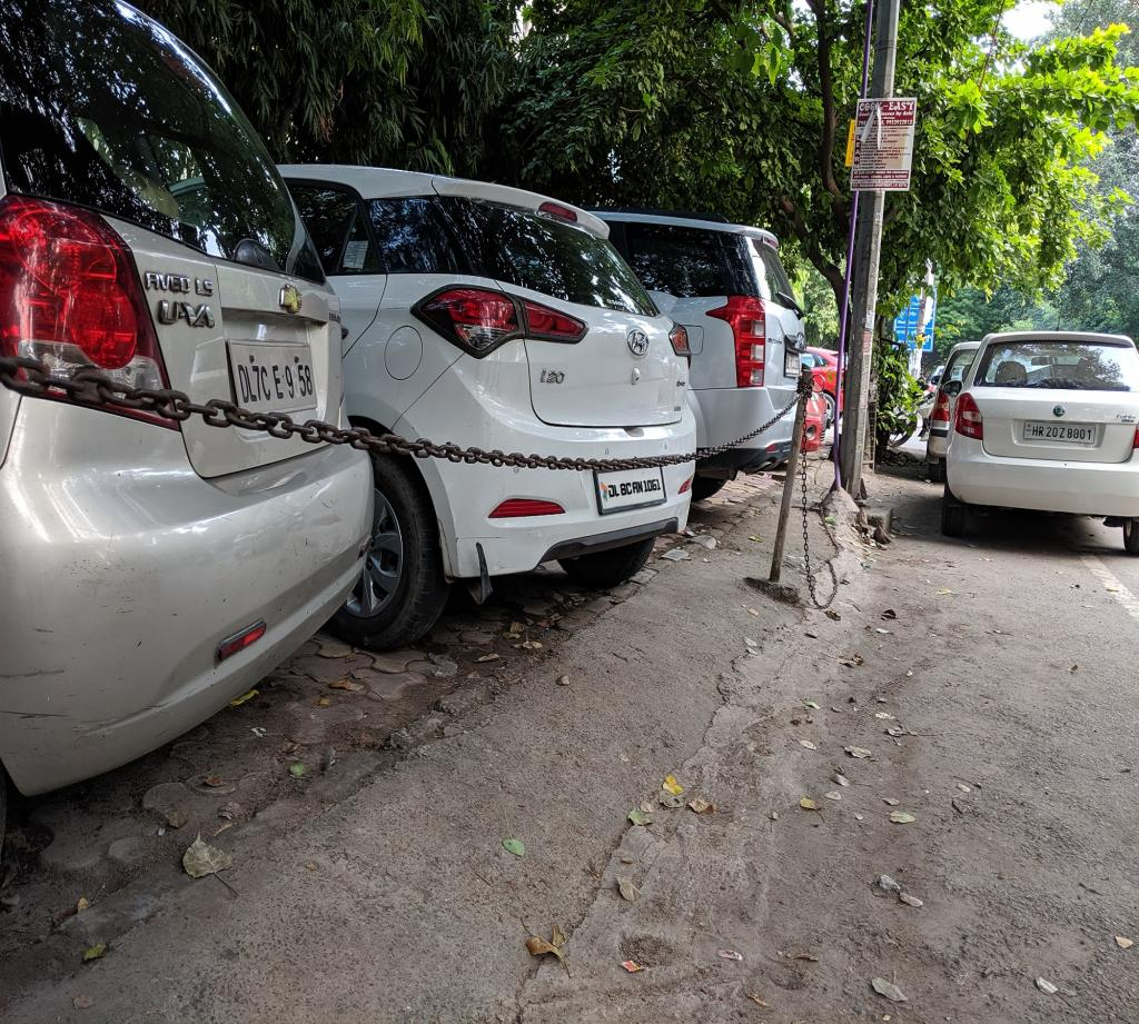 All the municipal corporations in the Capital have been directed to ensure that all pavements in residential areas are cleared from all encroachment to make them usable by pedestrians. Here residents have turned the footpath into a chained-up parking zone. Let's hope the SC order speeds up sustainable mobility pathways. Photo: Vikas Choudhary