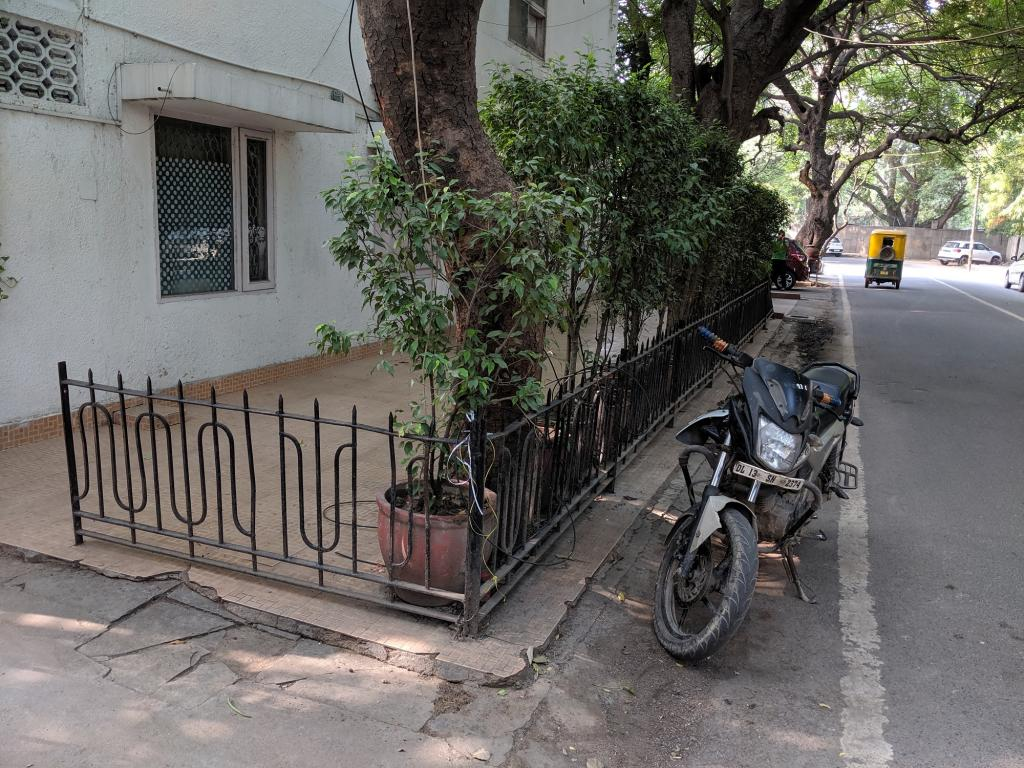 This residential property in Jungpura has not only been covered with plant pots, but has also been fenced. Photo: Vikas Choudhary